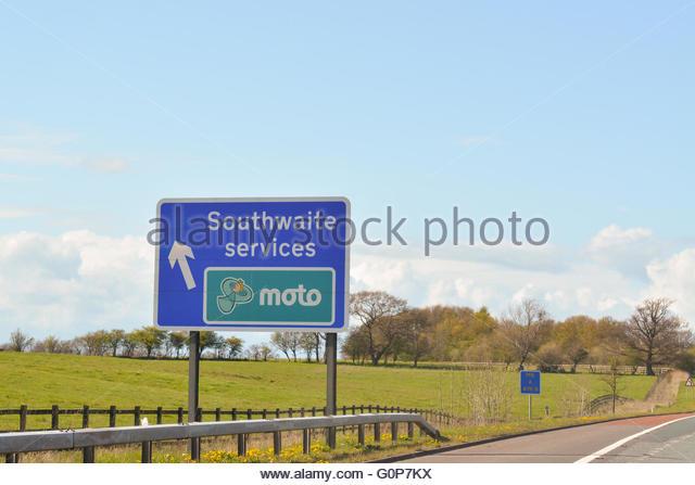 Southwaite Moto Dienste zwischen den Anschlussstellen 41 und 42 der M6 Autobahn in nördlicher Richtung, Southwaite, Stockbild