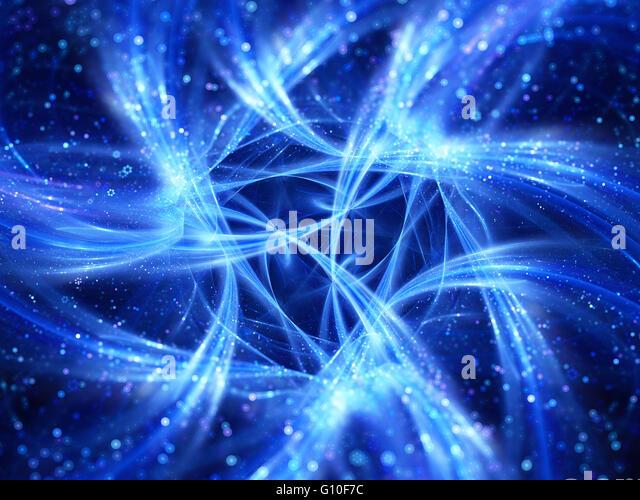 Blau leuchtende Verbindungen Kurven im Raum, big-Data-Flow Computer generiert abstrakten Hintergrund Stockbild