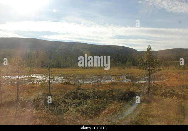 Heidelandschaften mit See und die Berge im Nationalpark Fulufjället, Dalarna, Schweden. Starke Blendeffekte Stockbild