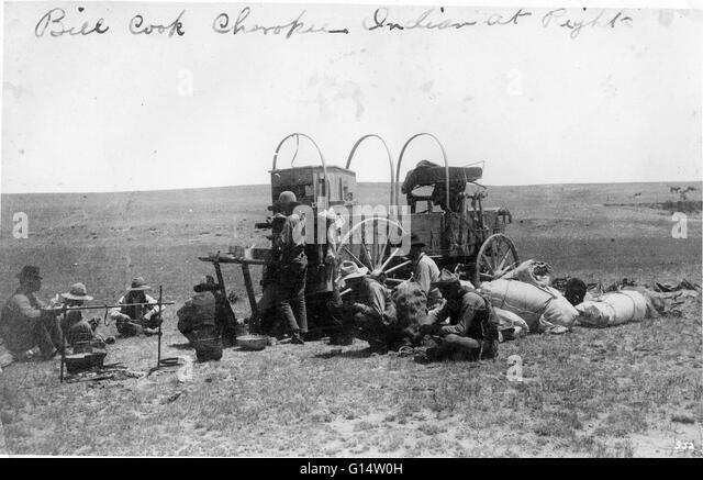 Ein Planwagen ca. 1887. Stockbild