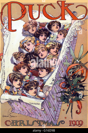 """Berechtigt: """"Puck Weihnachten 1909"""" Farblitho zeigt eine Weihnachts-Geschenkbox gefüllt mit schönen Stockbild"""