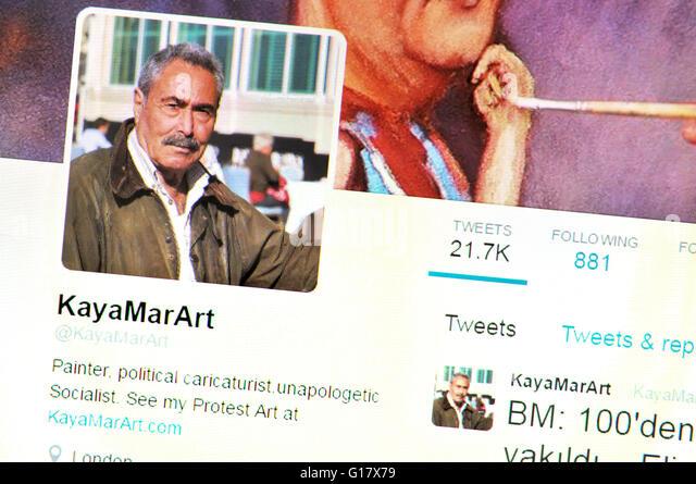 Twitter-Homepage Screenshot: Kaya Mar, türkische satirische Zeichner (Mai 2016) Stockbild