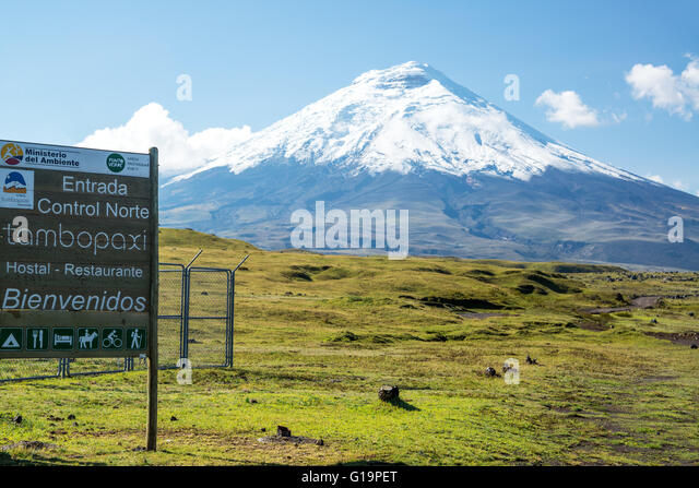 Eingang zum Cotopaxi Nationalpark in Ecuador Stockbild
