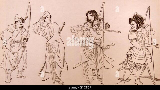 Abbildung der alten Krieger Japans Stockbild