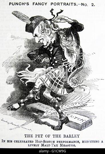 Politische Satire, die Darstellung von William Ewart Gladstone (1809-1898) ehemaliger Premierminister von Großbritannien. Stockbild