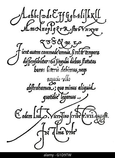 Seite aus Arrighis Operina schreiben Handbuch 1539 zeigt Handschrift Stile des 16. Jahrhunderts, Frührenaissance. Stockbild