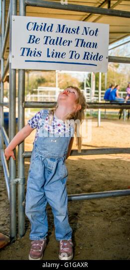 3 Jahre altes Mädchen blickte Überprüfung Zeichen für Höhe Qualifikation für Pony Stockbild