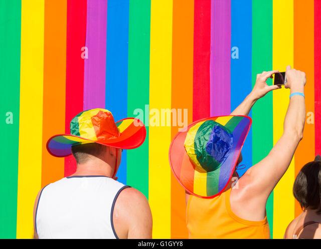 Maspalomas Gay-Pride-Parade 2016. Gran Canaria, Kanarische Inseln, Spanien Stockbild