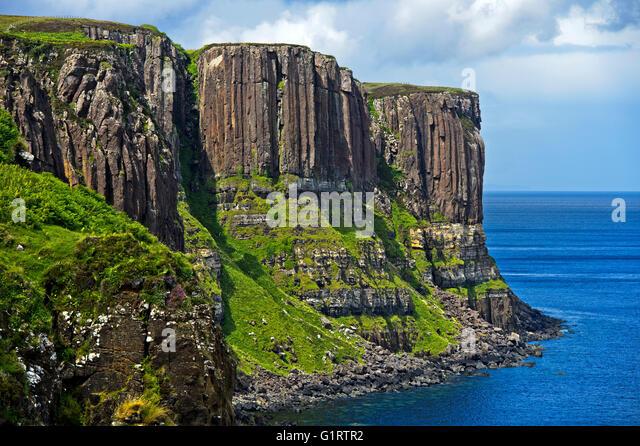 Kilt Rock, Basalt Felsen in der Nähe von Staffin, Isle Of Skye, Schottland, Vereinigtes Königreich Stockbild