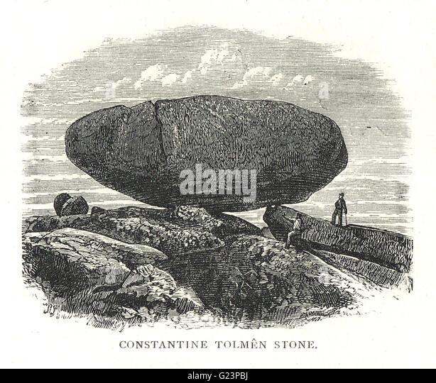 Tolmen Stone, Konstantin, Cornwall, England (natürliche antike Bildung jetzt zerstört) Stockbild