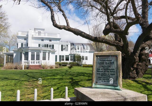 Jesse Halsey Gedenktafel außerhalb Geschichtsmuseum von Southampton, Long Island, New York USA Stockbild