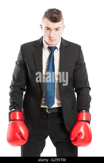 Wettbewerbsfähige Unternehmen Chef tragen Boxhandschuhe und schwarzen Business-Anzug Stockbild