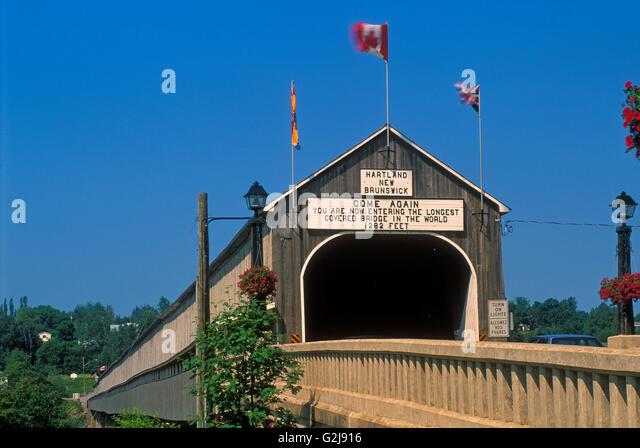Weltweit längste gedeckte Holzbrücke Hartland New Brunswick, Kanada Stockbild