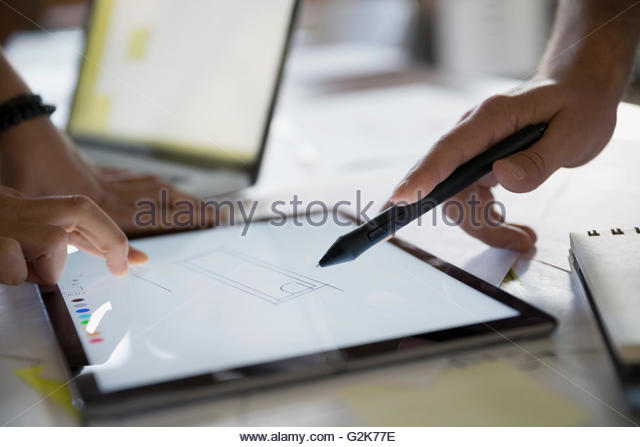 Designer auf digital-Tablette hautnah Stockbild