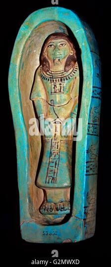 Ägyptische blau glasierten Zusammensetzung Königsuschebti mit Menschenaffen Sarg, 19. Dynastie, 1292-1187 Stockbild