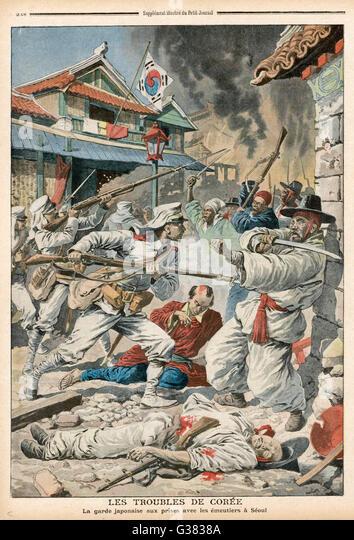 Seoul: Randalierer in Konflikt mit den japanischen Kräften der Besetzung Datum: 1907 Stockbild