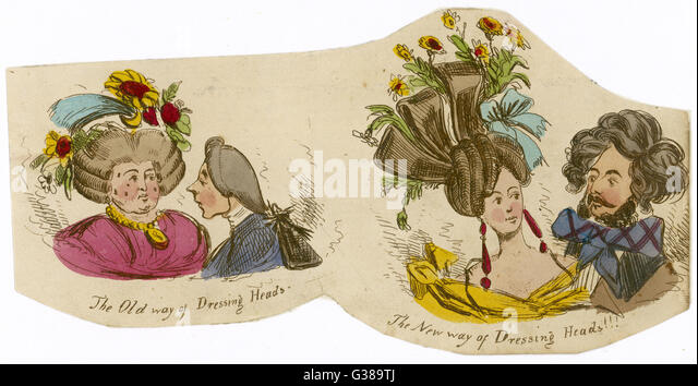 Friseur; die alte und neue Stile Datum: 1830 Stockbild