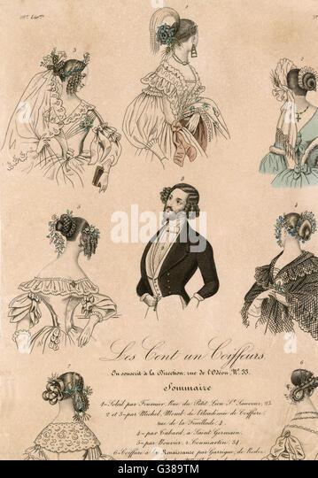 verschiedene Arten der Haare für Männer und Frauen Datum: 1838 Stockbild