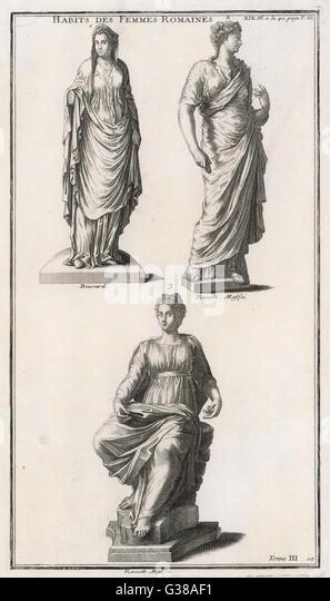 Römische Frauen in verschiedenen Stilen des Kostüms Stockbild
