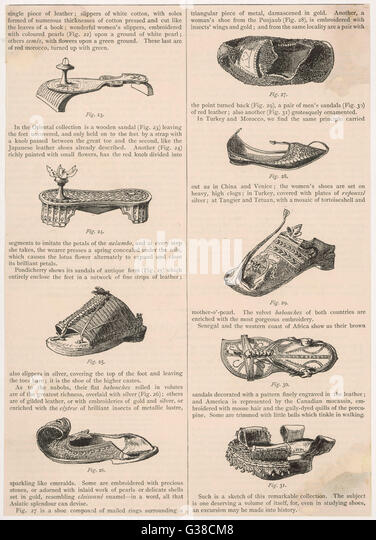 Verschiedene Arten von Schuh aus dem Orient und Amerika Stockbild
