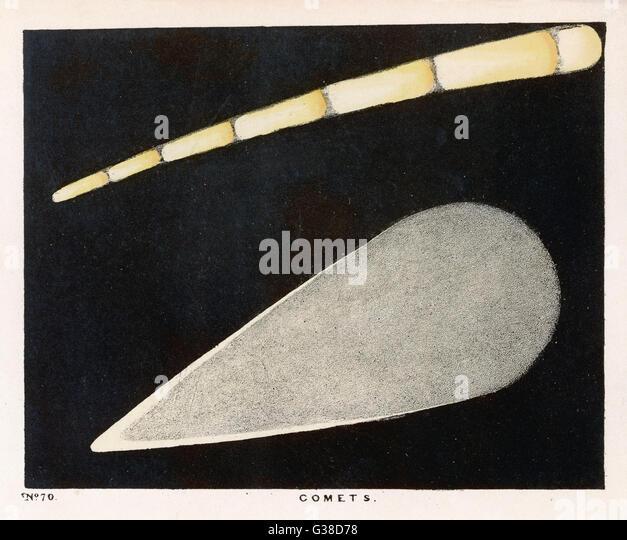 Eine Illustration von zwei Kometen Datum: 1849 Stockbild