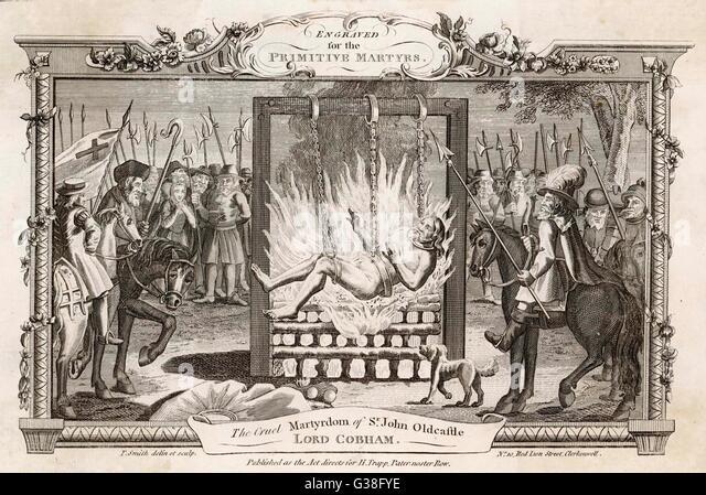 Sir John Oldcastle verbrannt von den Katholiken, nicht auf dem Scheiterhaufen, sondern in Ketten über dem Feuer Stockbild