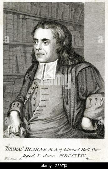THOMAS HEARNE englischer Historiker und Antiquar Datum: 1678-1735 Stockbild