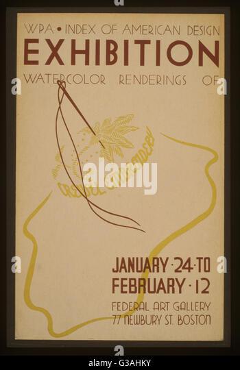 WPA-Index der amerikanischen Design-Ausstellung Aquarell Renderings scheinen Stickerei. Plakat Ausstellung der Stickmuster Stockbild