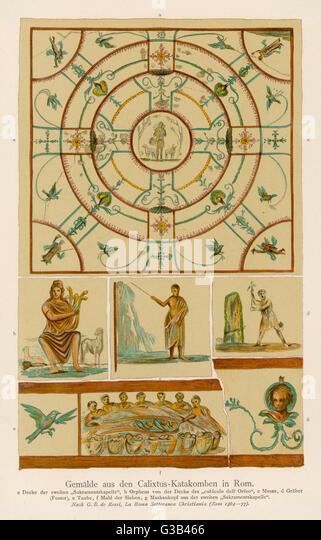 Christlichen Wandmalereien aus der Calixtus-Katakombe in Rom. Die Szenen dargestellt sind Darstellungen von der Stockbild