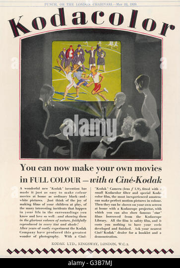 """""""Können Sie Ihre eigenen Filme in Vollfarbe - mit Cine - Kodak"""" Datum: 1929 Stockbild"""