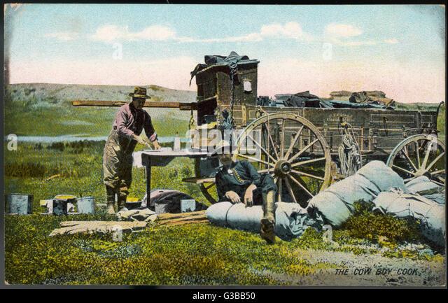 Ein Cowboy Koch und Planwagen Datum: Anfang des 20. Jahrhunderts Stockbild