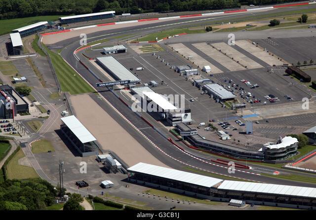 Luftbild von der Zielgeraden start Ziellinie bei Rennen in Silverstone, Northamptonshire, UK Stockbild