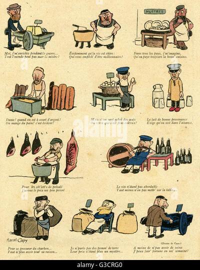 Cartoon illustrieren die Kosten für Essen und trinken während des ersten Weltkrieges.  Verschiedene Handwerker Stockbild