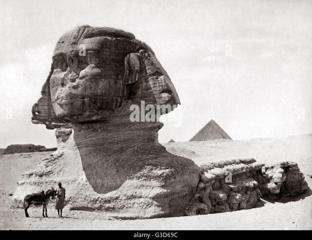 Sphinx Ägypten, ca. 1800 s.     Datum: ca. 1800 s Stockbild