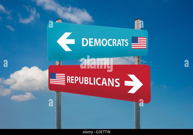 Demokraten und Republikaner Konzepte in der US-Wahl Stockbild