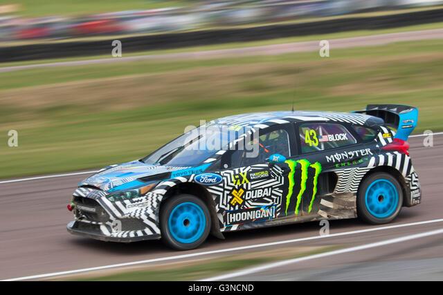 Welt-Rallycross racing, Ford Focus RS RX angetrieben von Ken Block. Stockbild