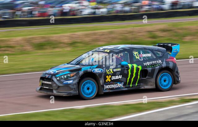 Welt-Rallycross racing, Ford Focus RS RX von Andreas Bakkerud angetrieben. Stockbild