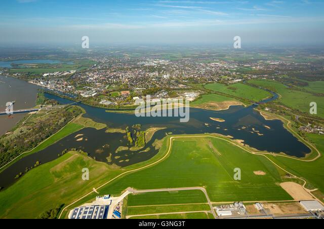 Luftaufnahme, Lippe verbindet Rhein, Wiederaufbau, Erhaltung, Überschwemmungsgebiete, Lippeverband, Wesel, Stockbild