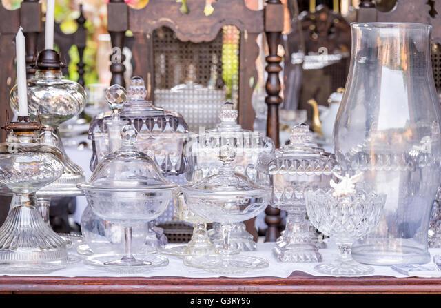 Vintage antik weiß Glaswaren Stockbild