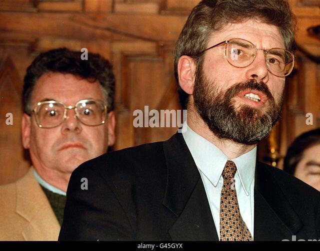 Sinn Féin Führer Gerry Adams nach einem Treffen mit einer Delegation der amerikanischen Politiker, einschließlich Stockbild