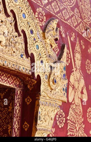 Wat Mai Suwannaphumaham Tempel Luang Prabang Laos Stockbild