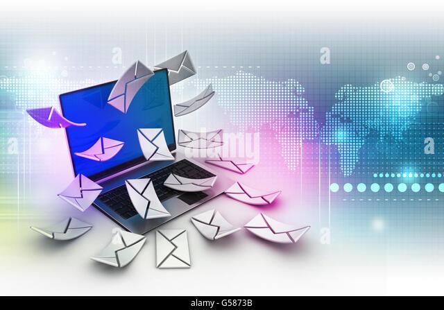 E-Mail-Konzept. Moderne Laptop und Umschlag Stockbild