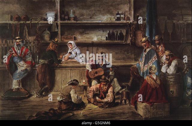 Argentinien. des 19. Jahrhunderts. Pulperia. Innenraum. Aquarell von Palliere, 1858. Nationales Historisches Museum. Stockbild