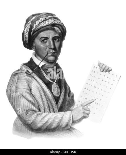 1790S 1800S PORTRAIT VON SEQUOYAH BERÜHMTEN CHEROKEE-INDIANER, CHEROKEE SYLLABARY AUS DER MALEREI VON CHARLES Stockbild