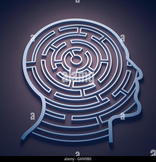 Labyrinth in einem Kopf - Wahrnehmung und Psychologie-Konzept Stockbild