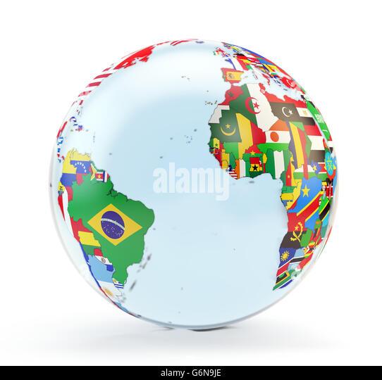 3D-Globus mit Nationalflaggen Stockbild