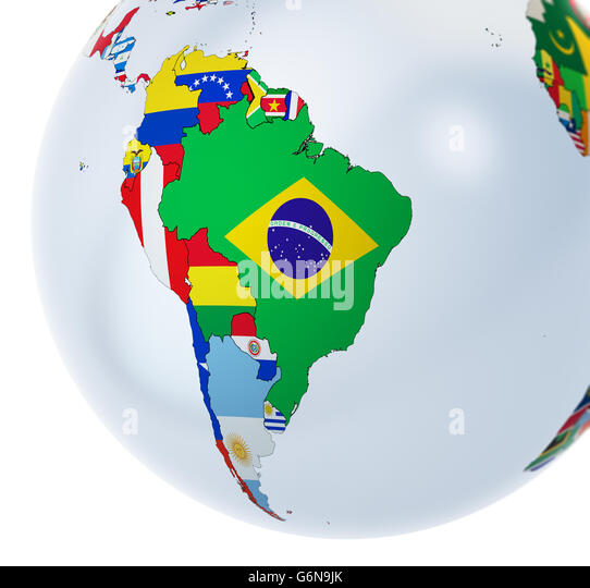 3D-Globus mit Nationalflaggen - 3D-Illustration Stockbild