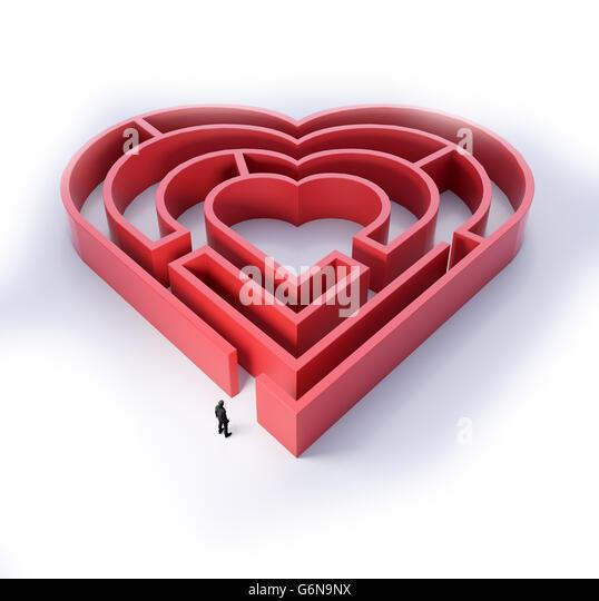 Herzförmige Labyrinth - Liebe und Beziehung Konzept 3D Illustration Stockbild