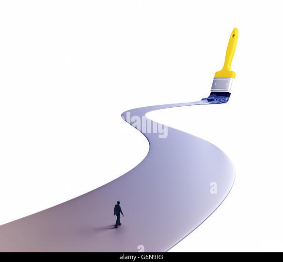 Mann zu Fuß auf einem lackierten Weg - 3D-Illustration Stockbild