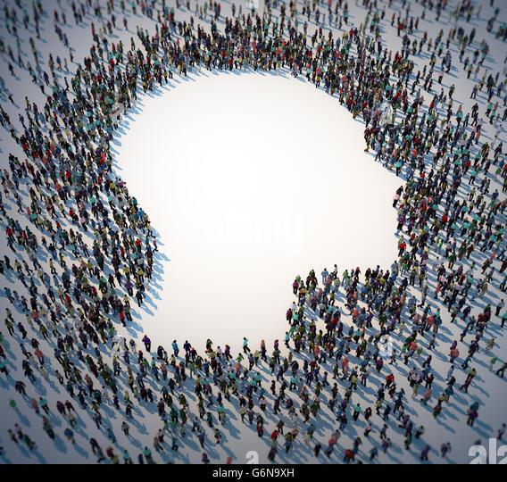 Große Gruppe von Menschen bilden ein Kopf Symbol - 3D-Illustration Stockbild